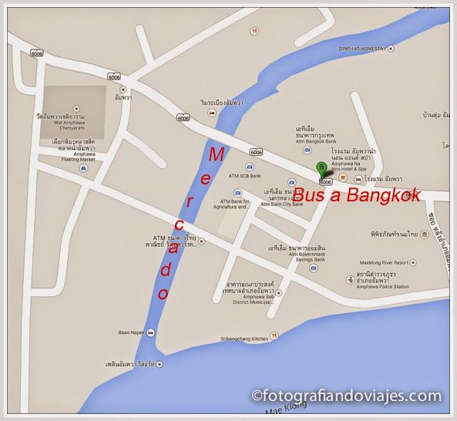 plano Paradas furgonetas mercado de Amphawa