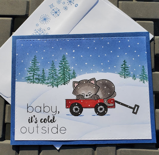 Baby it's cold outside by Jeanne J. features Wagon of Wishes and Newton's Book Club by Newton's Nook Designs; #newtonsnook, #inkypaws, #wintercards, #cardmaking