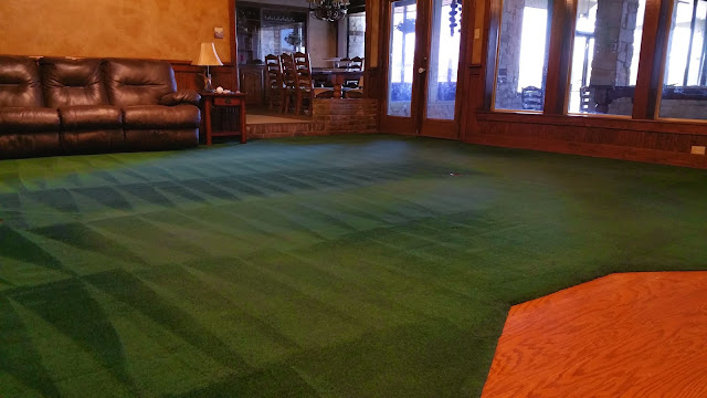 A cleaned living room carpet part of the $99 carpet cleaning special