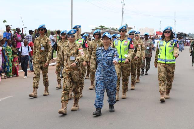 23 Personel FET Satgas TNI Konga Ikuti Karnaval International Woman Day