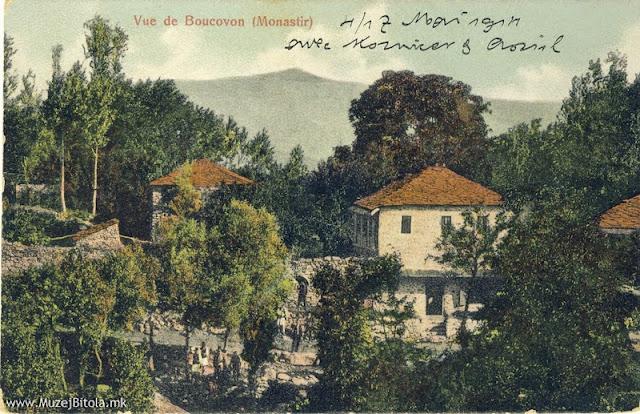 Дел од селото Буково, Битолско. Издавач Pillis & Coucoulim. Разгледница издадена во 1910 година, а испратена во Бугарија за време на Првата светска војна, на ден 27 декември 1915 година. За Госпожа Анка К.Димитрова Гр. Харманли Бугарија Покрај мотиви од Битола, на разгледниците на издавачите Pillis & Coucoulim се јавуваат и мотиви од околните села како што е Буково. Близината на селото Буково до Битола, како и прекрасната природа и свеж воздух, била причина и рускиот конзул Ростковски да има вила во селото, а тоа било причина да се појават и разгледници од ова село.