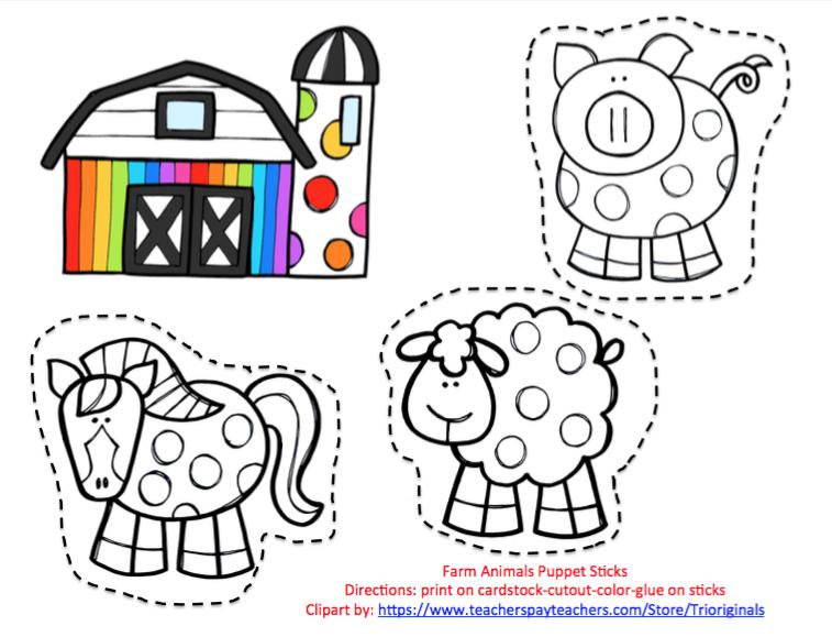 photograph about Free Printable Farm Animal Cutouts named Totally free Farm Animal Puppet Sticks ~ Preschool Printables