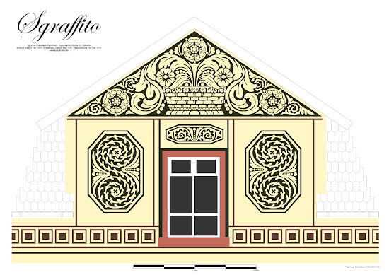 Bensheimer Häuser - damals und heute - Digitalisierte Sgraffito-Putz Fassade der Darmstädter Straße 50 in Bensheim, die 1911 die ursprüngliche klassizistische Fassade abgelöst hat.