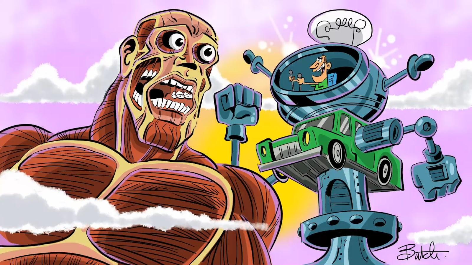Kolosalny tytan z Attack on Titan w stylu Wróżków chrzestnych