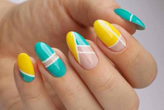 Geometryczne paznokcie w letnich kolorach | Mistero Milano
