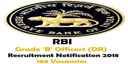 RBI Grade 'B' Officers Recruitment Notification 2018