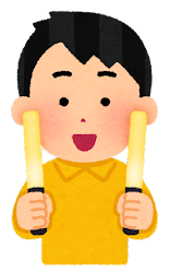黄色いペンライトを持つ人のイラスト(男性)