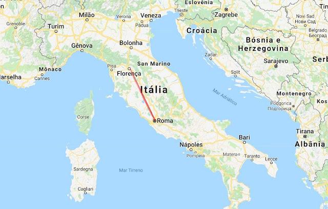 Mapa da viagem de Florença a Roma