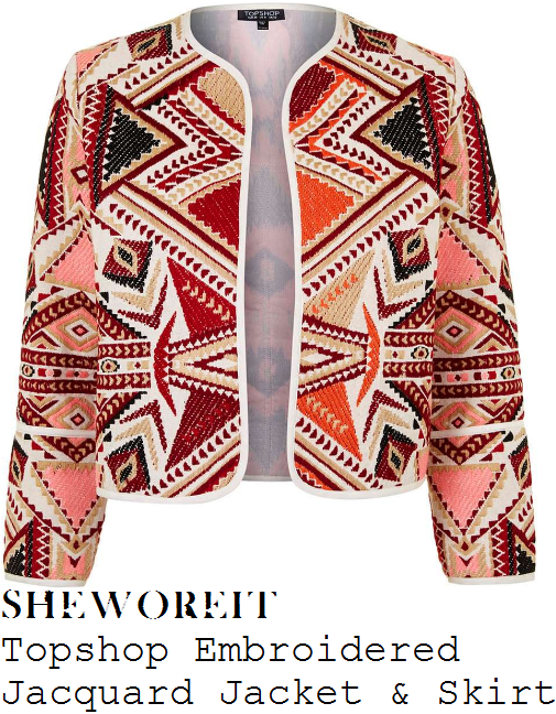 danielle-lloyd-topshop-red-orange-pink-multicoloured-embroidered-aztec-jacket-jacket-and-mini-skirt-co-ords