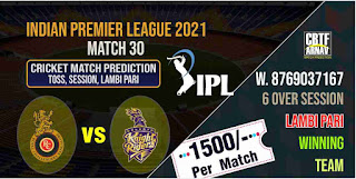 IPL 2021 Match 30th Bangalore vs Kolkatta Today Match Prediction 100% Sure Winner