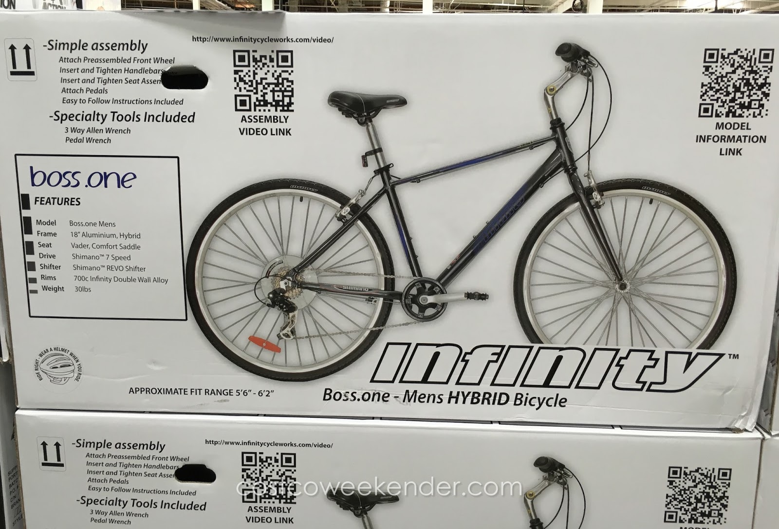 Costco 1014315 Infinity Boss One Mens 7 Sd Hybrid Bike Great For