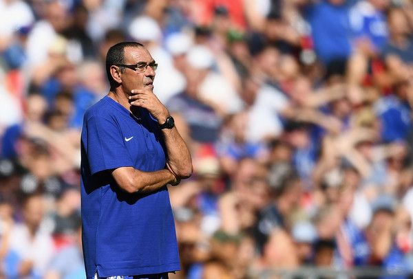 Maurizio Sarri of Chelsea looks on during the FA Community Shield match between Manchester City and Chelsea at Wembley Stadium on August 5, 2018 in London, England.