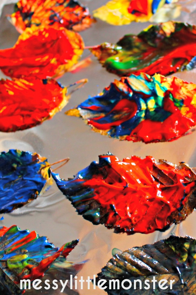 painted leaves process art for toddlers