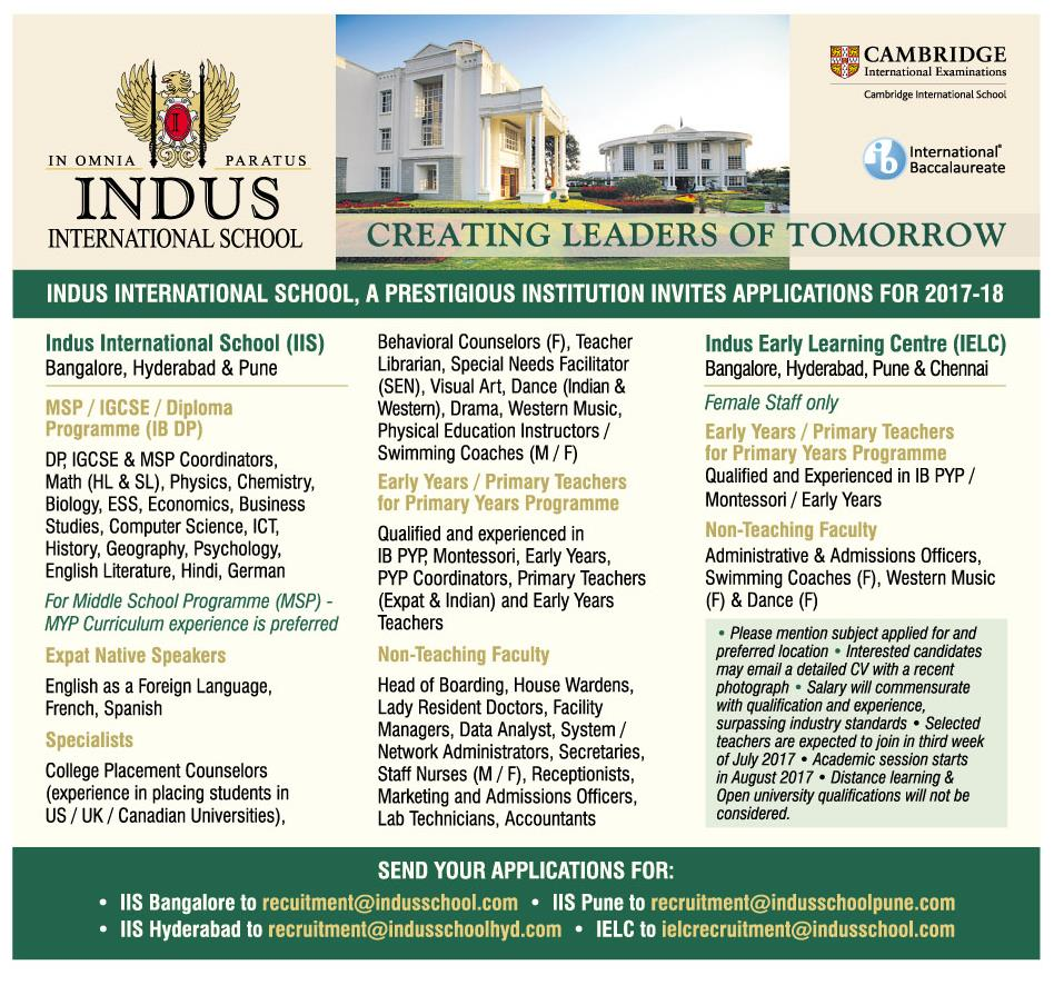 indus international school  bangalore  wanted primary