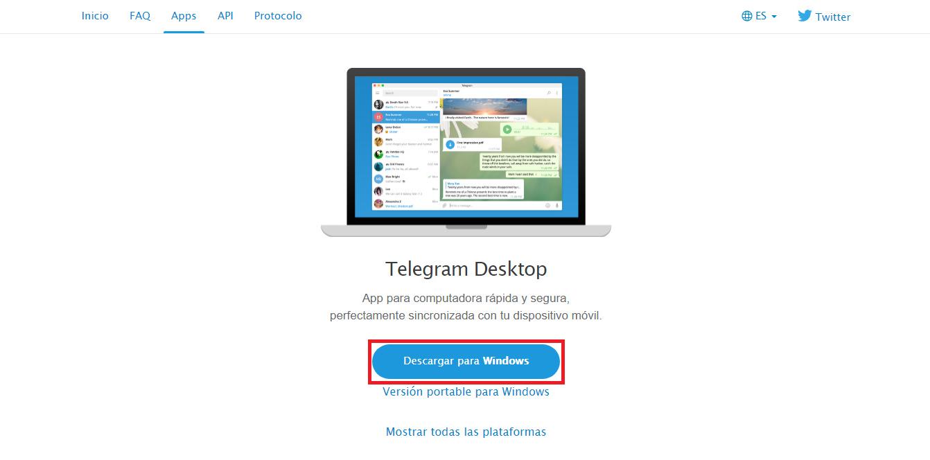 descargar telegram para pc