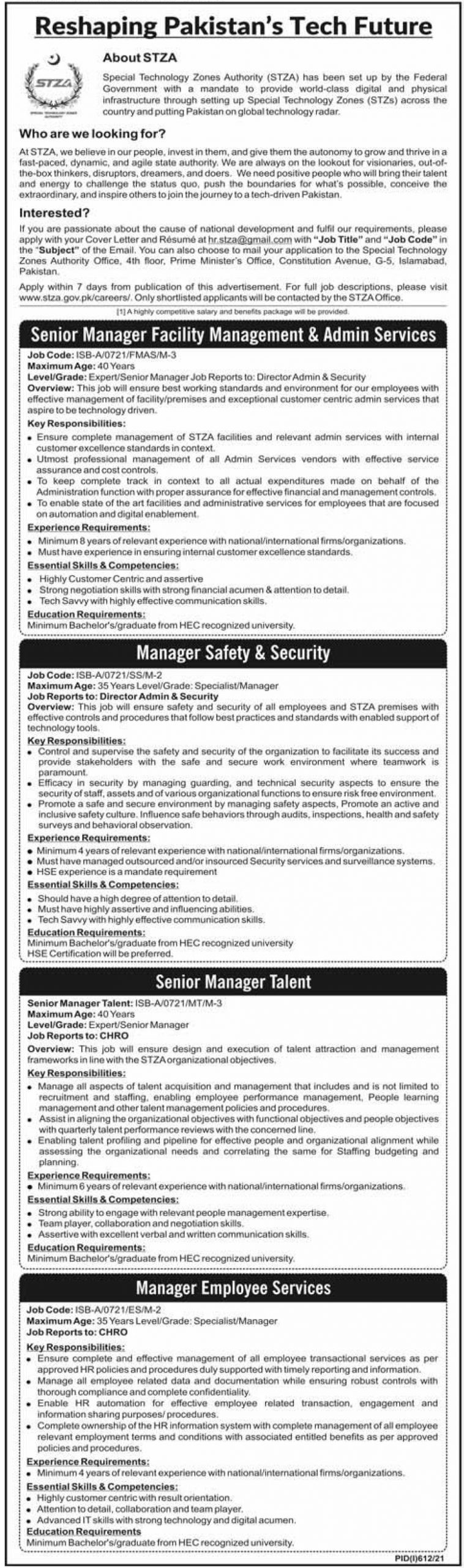 Special Technology Zones Authority STZA Jobs 2021 Apply Online