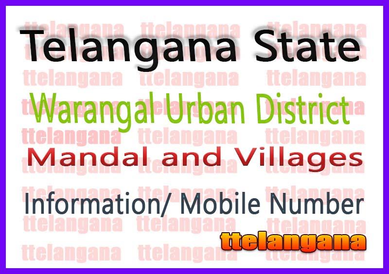 Khila Warangal Mandal Villages in Warangal Urban District Telangana