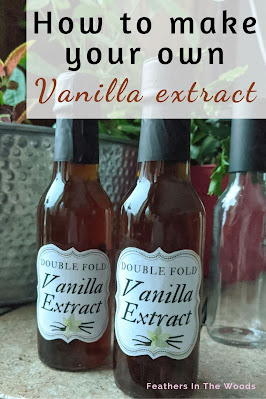 Homemade vanilla extract in glass bottle with fancy label