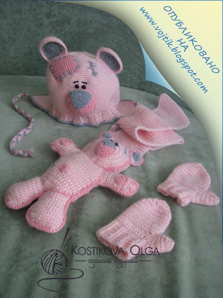схема вязанной шапки мишки тедди