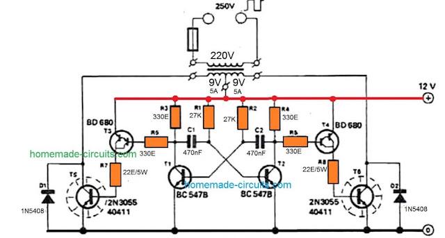 simple TIP35 inverter circuit
