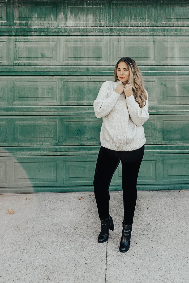 fall outfit, velvet leggings, turtleneck sweater