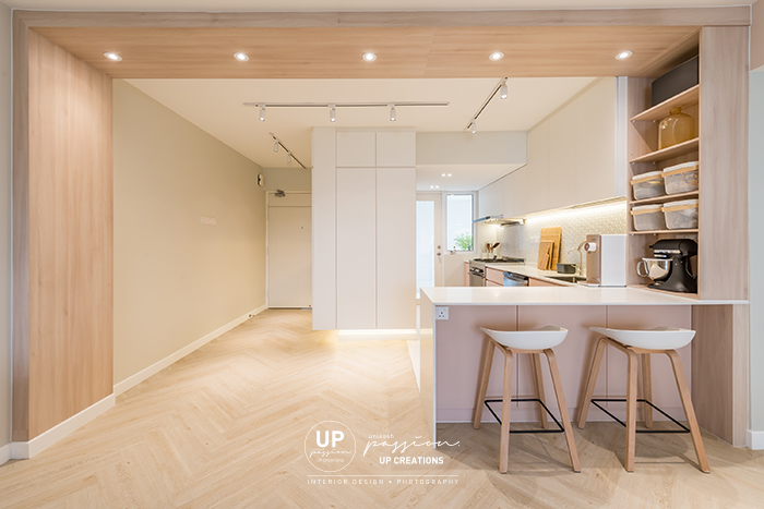 Mont Kiara Pines condo wood arch is the highlight to separate the space between dining and kitchen which also complete the space