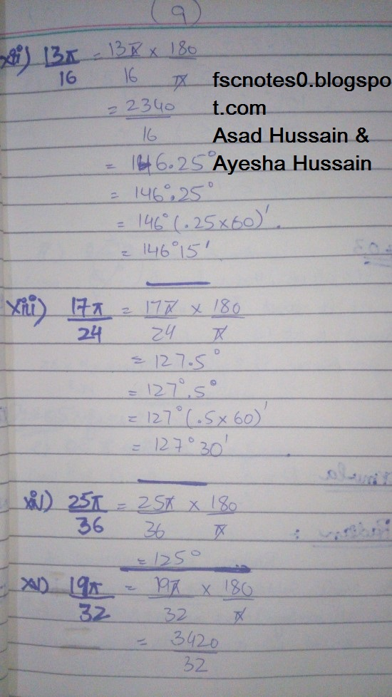 FSc ICS FA Notes Math Part 1 Chapter 9 Fundamentals of Trigonometry Exercise 9.1 Question 2 - 3 by Asad Hussain & Ayesha Hussain 2