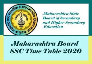 Maharashtra SSC Board Time table 2020, SSC Board Time table 2020 Maharashtra