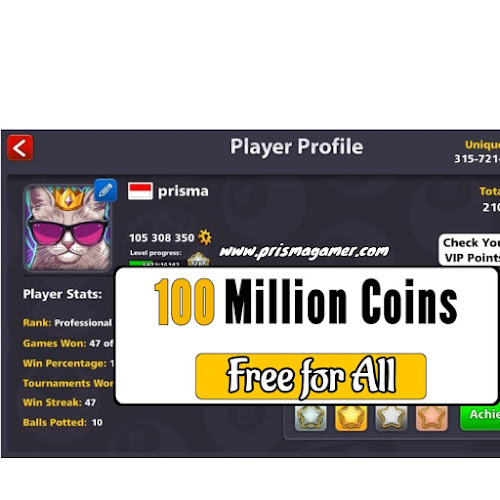 Free 8 ball pool coins Prisma 8bp