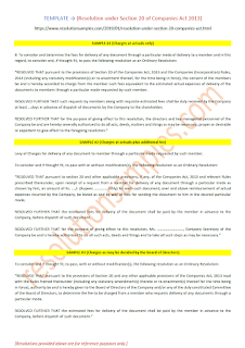 resolution under section 20 of companies act 2013