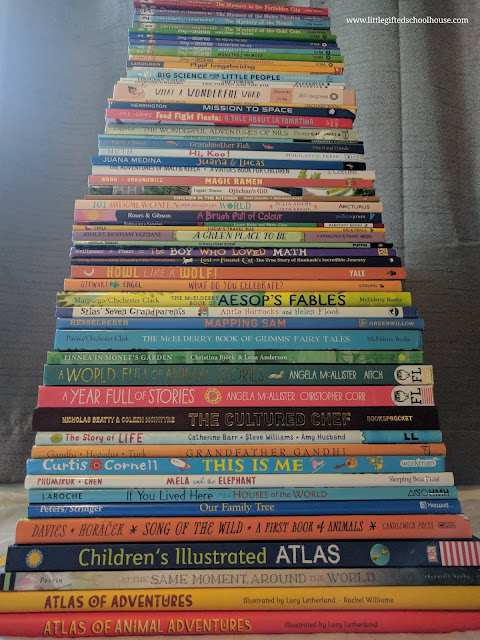 giant stack of books that go with Torchlight K curriculum