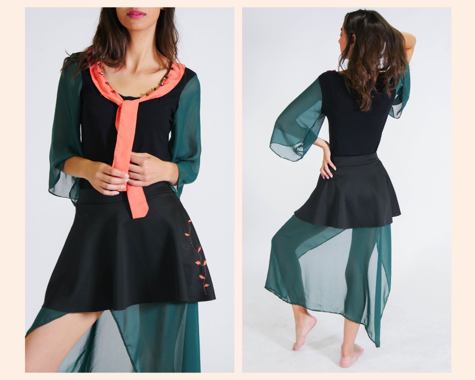 reformando: blusa e saia em um conjunto