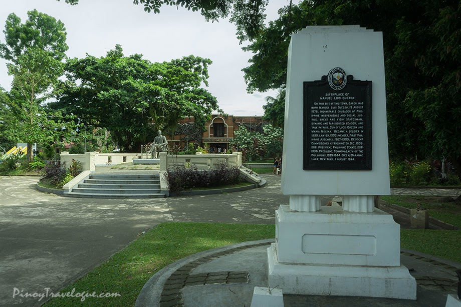 Site's historical marker inscribed as the birthplace of Manuel Quezon