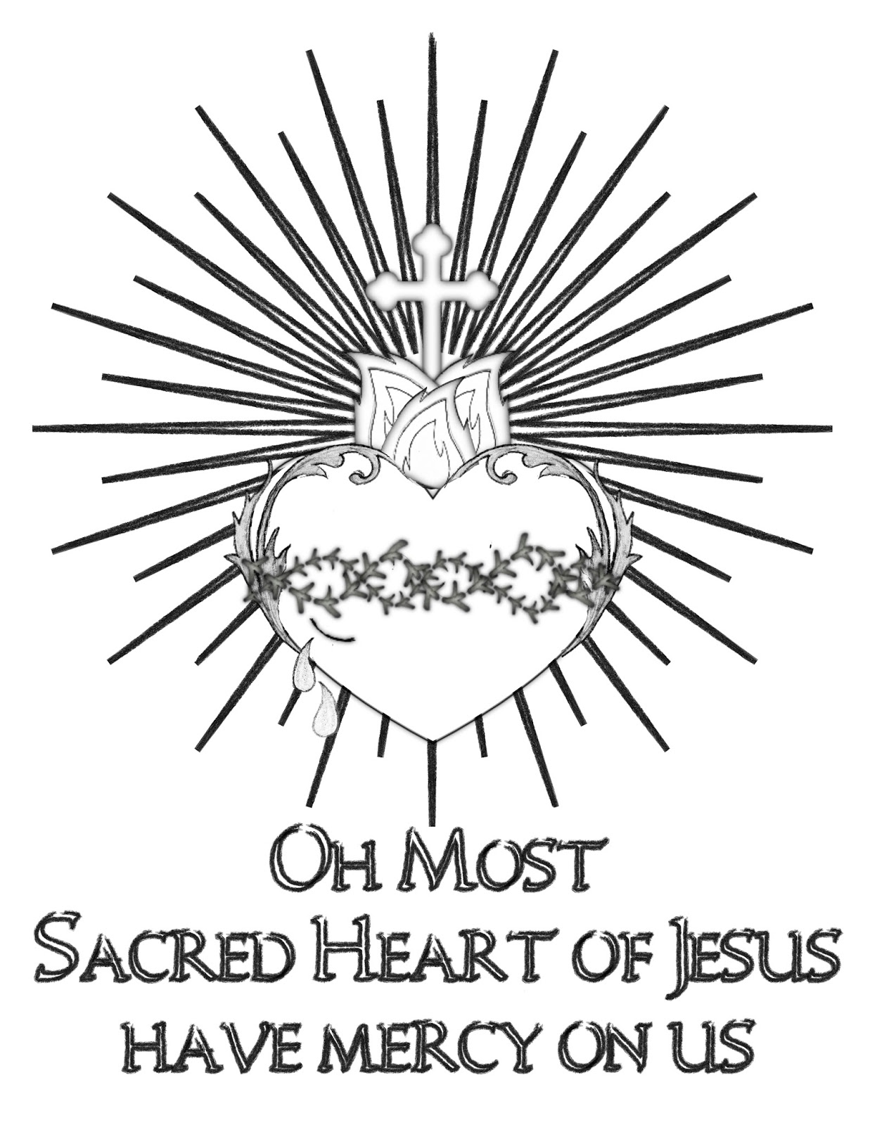Fire Heart Jesus Line Drawing