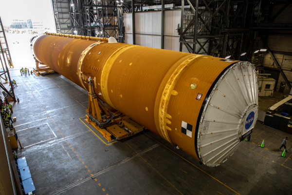The Space Launch System's (SLS) core stage booster for Artemis 1 is transported into the Vehicle Assembly Building at NASA's Kennedy Space Center in Florida...on April 29, 2021.