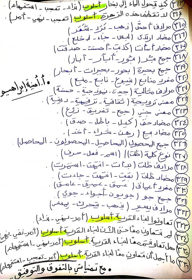 336 سؤال اختيار من متعدد للصف الرابع الابتدائي يشمل كل أجزاء المنهج قراءة ونصوص ونحو ومواطن جمالية 15