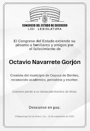 PUBLICA CONGRESO DE GUERRERO ESQUELA POR PERIODISTA Y ESCRITOR OCTAVIO NAVARRETE