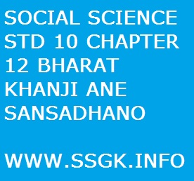 SOCIAL SCIENCE STD 10 CHAPTER 12 BHARAT KHANJI ANE SANSADHANO