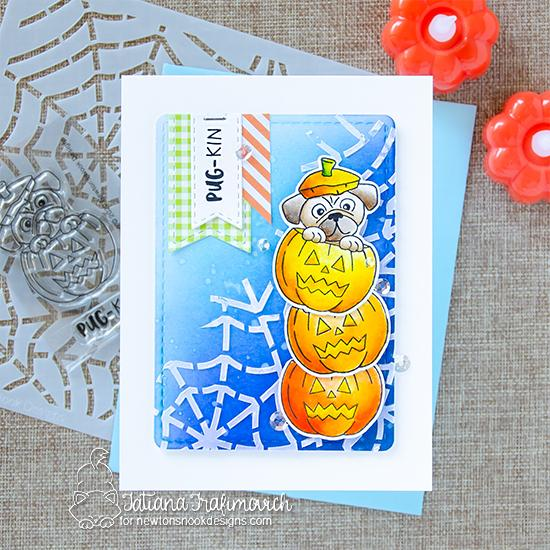 Pug Halloween Card by Tatiana Trafimovich | Pug-kin Stamp Set, Frames & Flags Die Set and Spiderweb Stencil by Newton's Nook Designs #newtonsnook #handmade