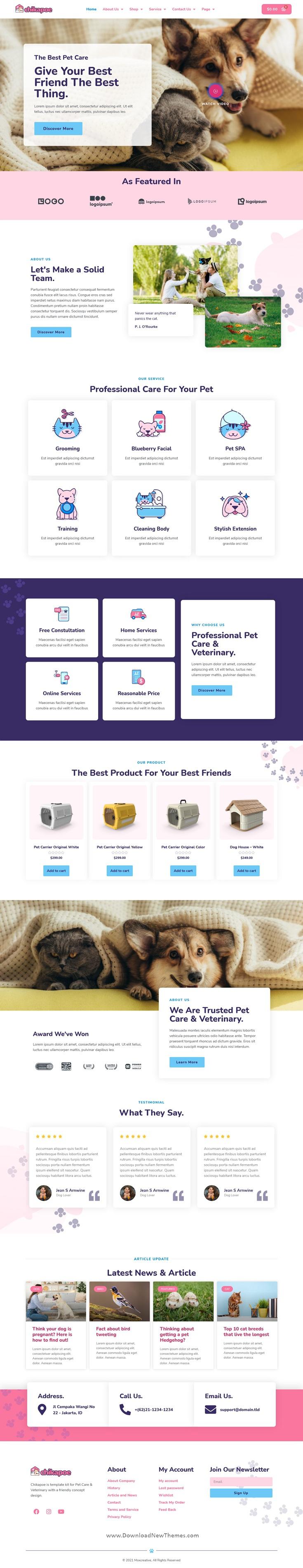 Pet Care & Veterinary Elementor Template Kit