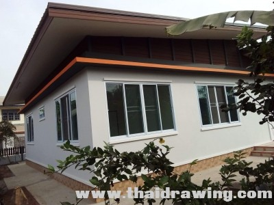These are the single storey house designs that can be built above 100 square meters living area. These houses consist of 2 bedrooms, 1-2 bathroom, living area, dining area, and a kitchen.  Let's take a look at these three house designs for your inspiration.