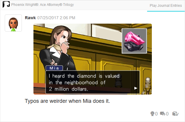 Phoenix Wright Ace Attorney Trials and Tribulations Mia Fey neighboorhood typo Diamond
