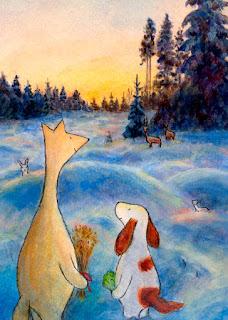Hulmu ja Haukku talvella metsässä ruokkimassa eläimiä joulunaikaan - joulukortti