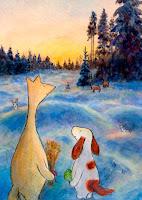 Postikorttikuvitus, missä Hulmu Hukka ja Haukku Koira ovat ruokkimassa eläimiä joulunaikaan / Postcard illustration of Hulmu and Haukku dog feeding animals in Christmas