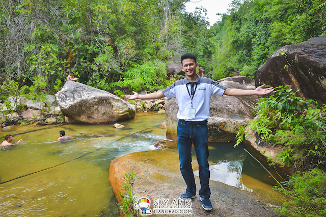 Ariff Shah with Jerangkang Waterfall as the background