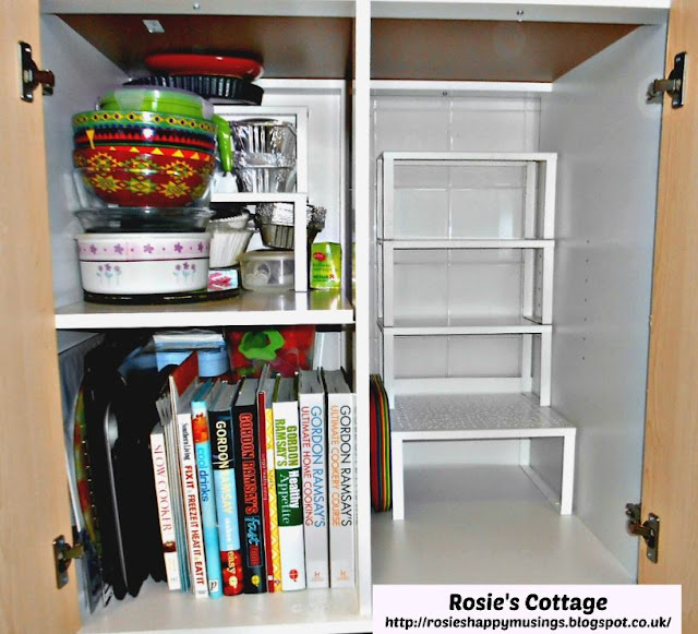 Inside of Ikea FYNDIG kitchen cabinet with Variera shelf inserts
