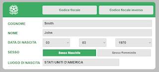 """John Smith"" Codice Fiscale example"