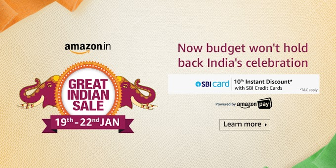 Amazon Great Indian Sale 2020 | Date 19th - 22nd January 2020 | Offers list and details
