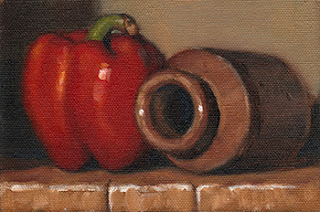 Oil painting of a red pepper beside an earthenware jar lying on its side.