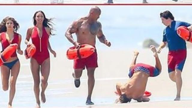 """Zac Efron se cae grabando una escena de """"Baywatch"""" (FOTO)"""